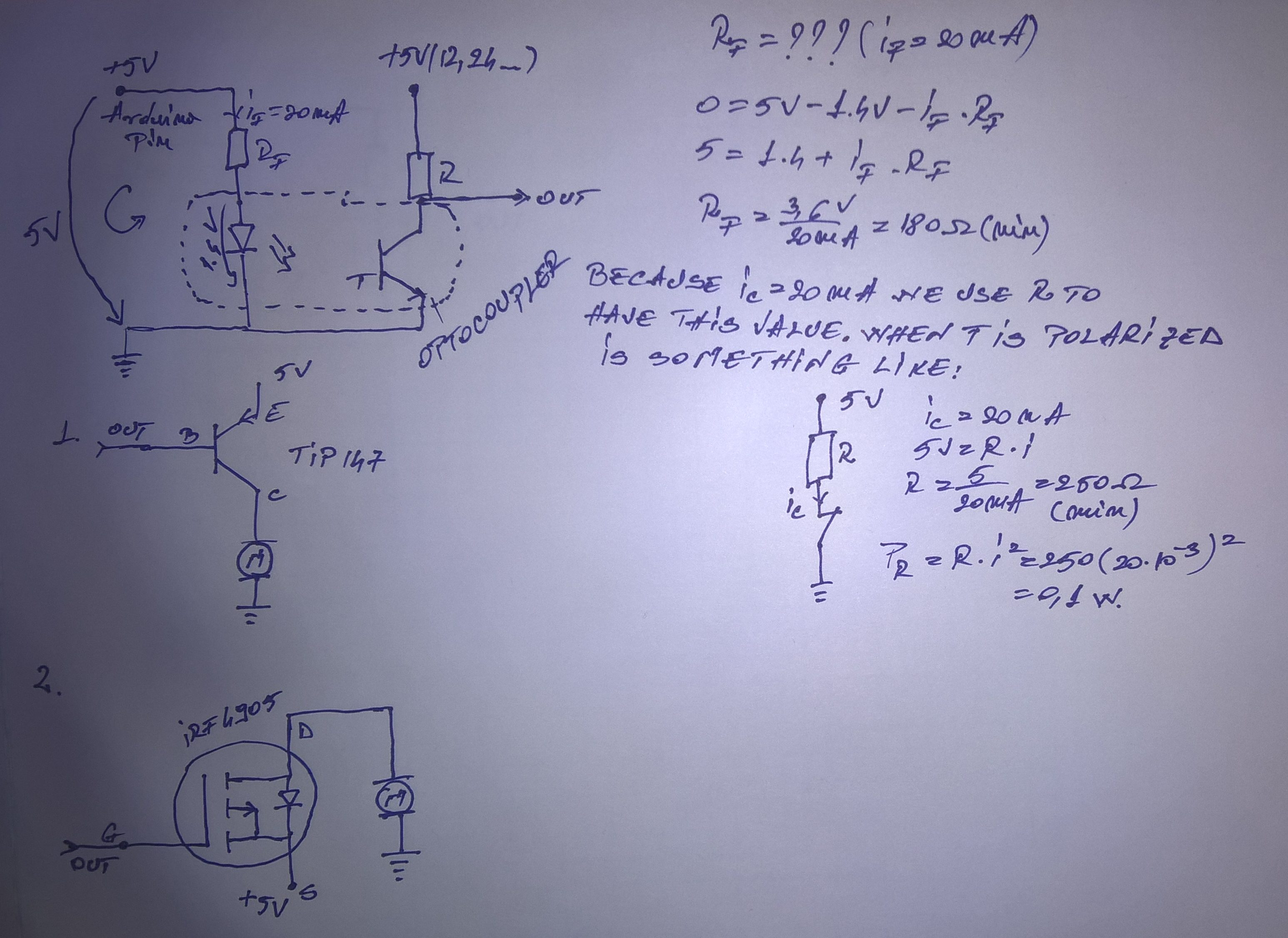optocoupler resistors calculus