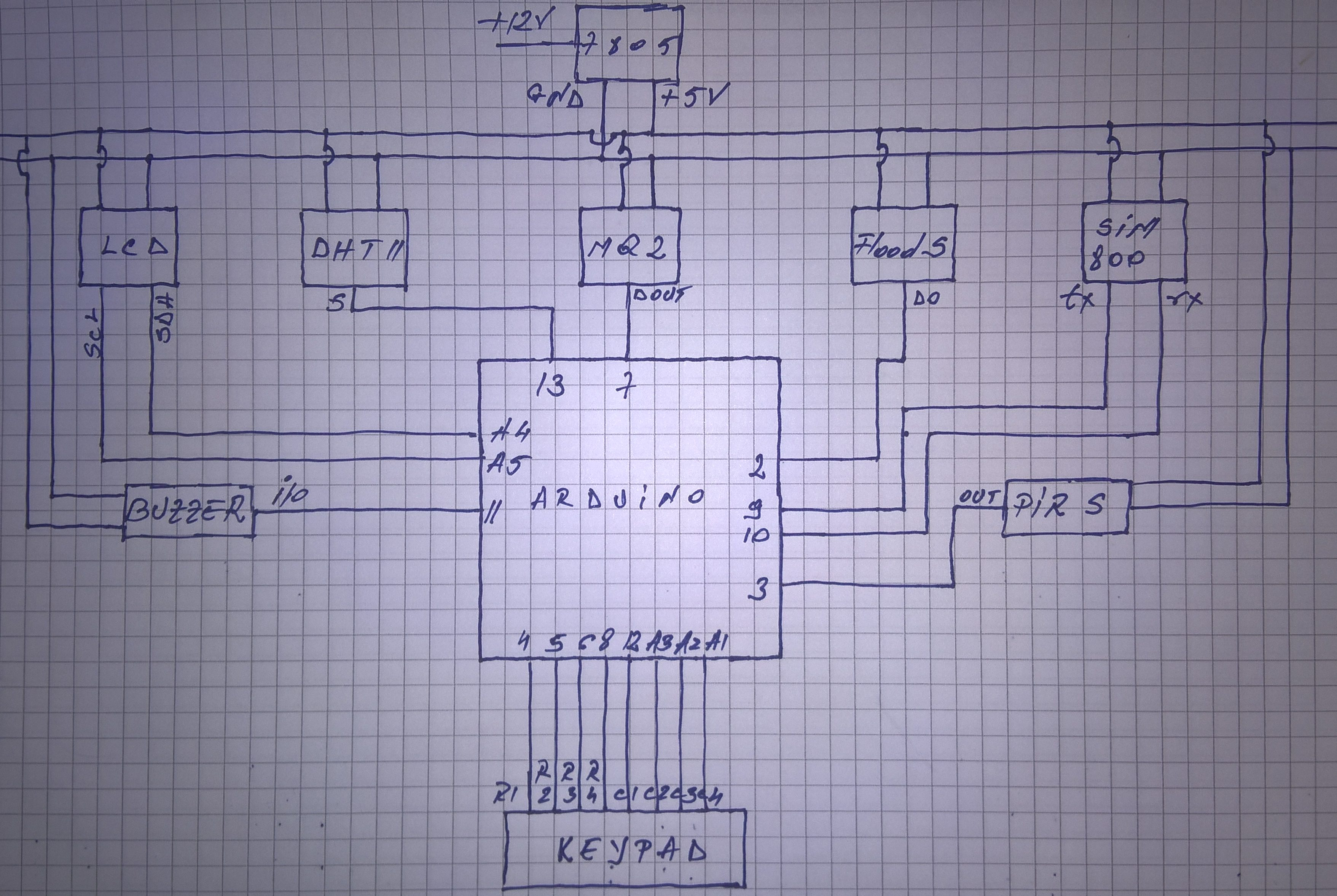 Mq2 Smoke Sensor Circuit Built With An Arduino How To Make A Security Surveillance System For Your Home Wiring Diagram